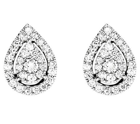 Diamond Cluster Teardrop Stud Earrings, 14K, byAffinity