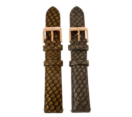 Bronzo Italia 18mm Set of 2 Python-Embossed Leather Straps