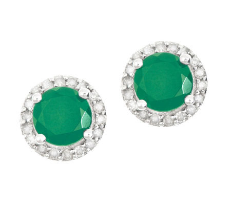 Sterling Emerald 1/4 ct tw Diamond Halo Stud Earrings