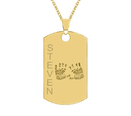 24K Yellow Gold Plated Sterling Handprint Dog Tag w/ Chain