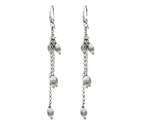 Sterling Silver Satin Bead Double Strand ChainDangle Earrings