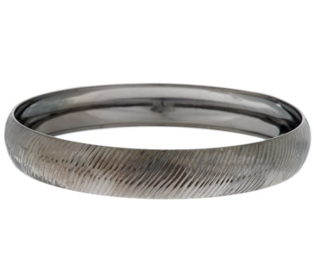 """As Is"" Sterling Diamond Cut Round Slip-On Bangle"