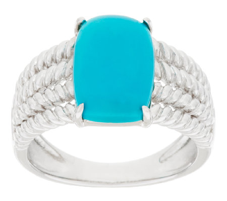 Sleeping Beauty Turquoise Rope Design Sterling Silver Ring