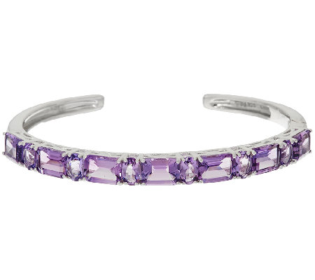 Multi-Cut Amethyst Sterling Silver Hinged Cuff, 10.50 ct tw