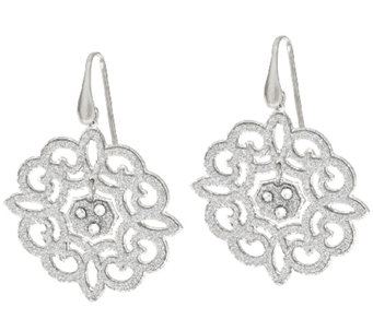 VicenzaSilver Sterling Scroll Design Glitter Dangle Earrings - J321404