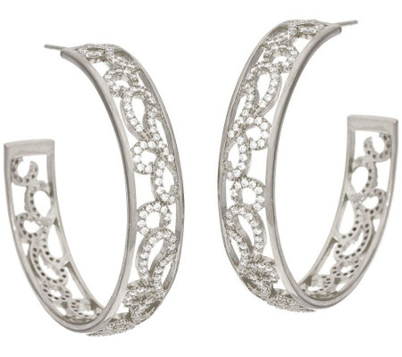 "Italian Silver Sterling 1-1/2"" Scroll Design Round Hoop Earrings"