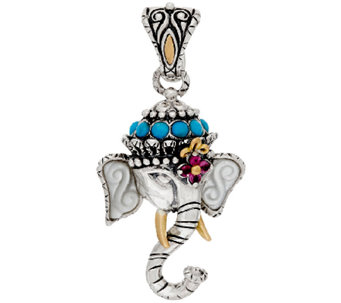 Barbara Bixby Sterling & 18K Multi-Gemstone Elephant Enhancer - J321604
