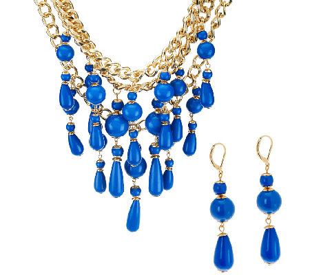 Linea by Louis Dell'Olio Bead Drop Necklace & Earrings Set
