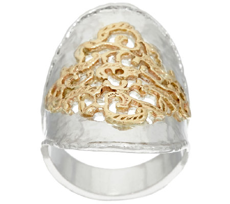Sterling Silver & 14K Gold Hammered & Lace Ring by Or Paz