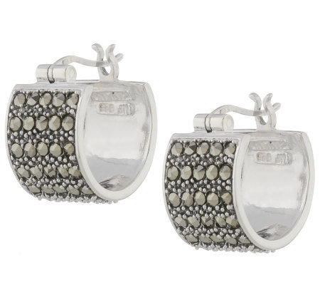 Suspicion Sterling Marcasite Wide Huggie Hoop Earrings