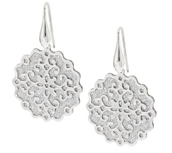 """As Is"" VicenzaSilver Sterling Pave' Glitter Scroll Earrings - J323504"