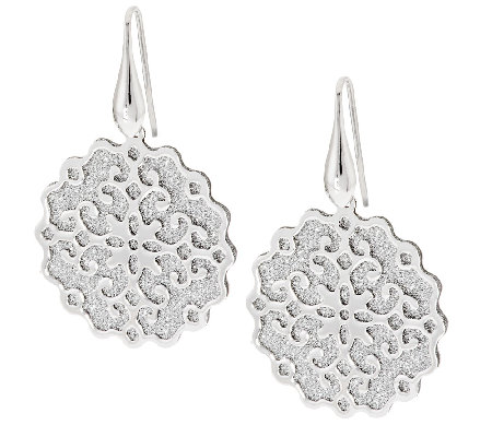 """As Is"" VicenzaSilver Sterling Pave' Glitter Scroll Earrings"