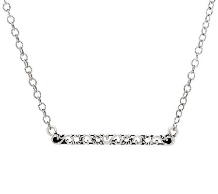 Carolyn Pollack Sterling Silver Horizontal Scroll Bar Necklace