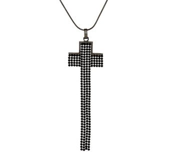 """As Is"" VicenzaSilver Elongated Cross Pendant w/Chain - J324904"