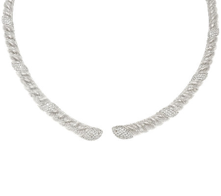 Judith Ripka Sterling Silver Diamonique 7.00 cttw Collar Necklace