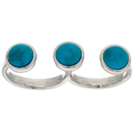 Vicenza Silver Sterling Turquoise Double Finger Ring