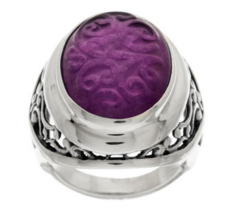 """As Is"" Carolyn Pollack Sterling Carved Gemstone Oval Ring - J328204"