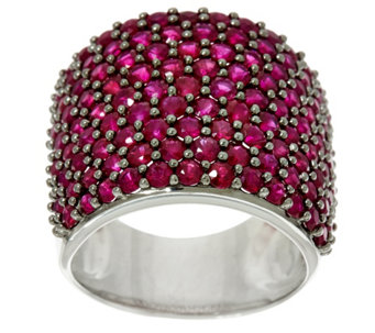 Pave' Precious Gemstone Bold Sterling Silver Ring 3.50 cttw - J329404