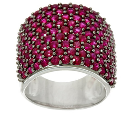 Pave' Precious Gemstone Bold Sterling Silver Ring 3.50 cttw
