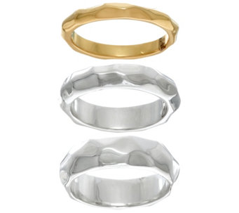 RLM White & Yellow Bronze Set of 3 Hammered Rings - J329604
