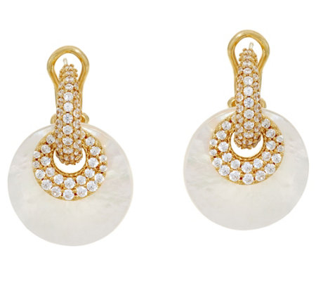 Judith Ripka 14K Clad Pave'& Mother of Pearl Changeable Earrings