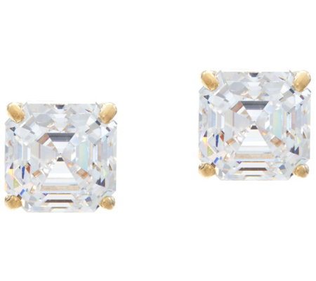 Diamonique 2.00 cttw Asscher Stud Earrings, 14K Gold