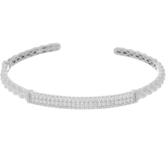 Diamonique Station Cuff Bracelet, Sterling or 14K Clad - J331104