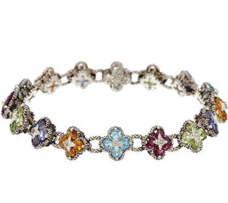 """As Is"" Barbara Bixby Sterling & 18K 8.50 cttw Gemstone Flower 8"" Bracelet"