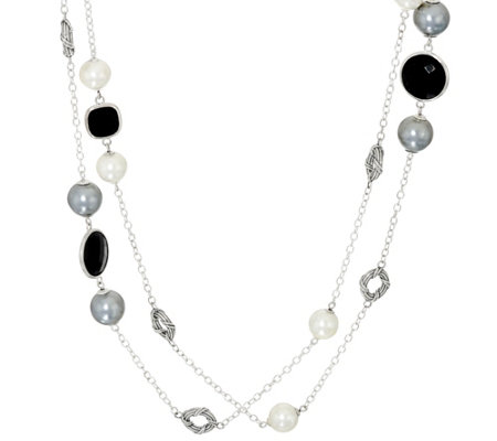 "Peter Thomas Roth Sterling & Multi Bead 57"" Station Necklace"