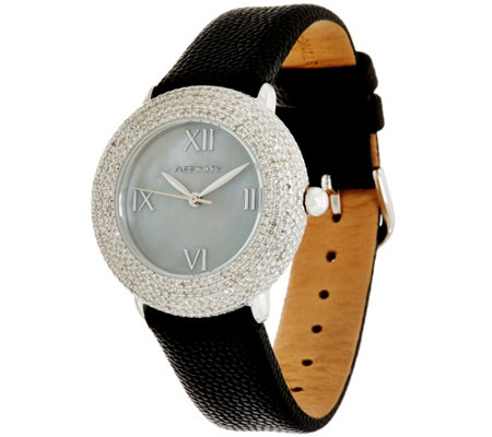 Pave' Round Diamond Watch, Stainless Steel 1.80 cttw, by Affinity