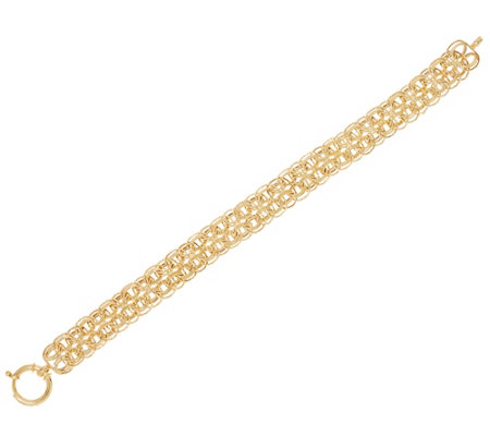 """As Is"" 14KGold 8"" Polished and Textured Woven Bracelet, 7.6g"