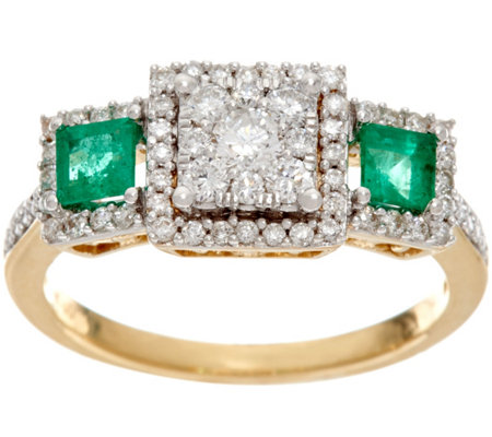 """As Is"" Princess Cluster Diamond Emerald Ring14K 1/2cttwAffinity"