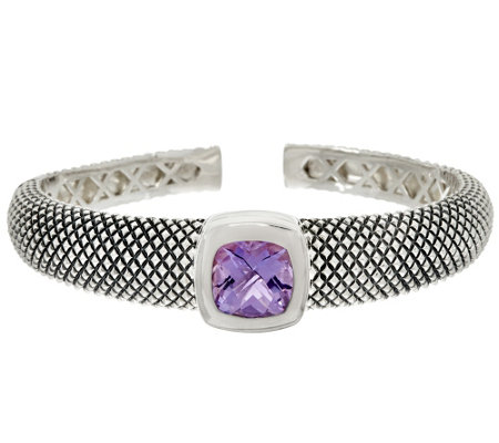 """As Is"" Michael Dawkins Sterl. Crosshatch 4.00 ct tw Amethyst Cuff"
