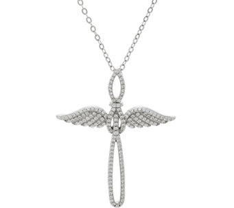 "Diamonique Angel Wing Cross Necklace w/ 18"" Chain, Sterling - J335104"