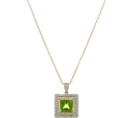 Square Cut Peridot & Diamond Pendant w/Chain 14K Gold