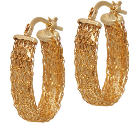14K Gold Mesh Design Oval Hoop Earrings