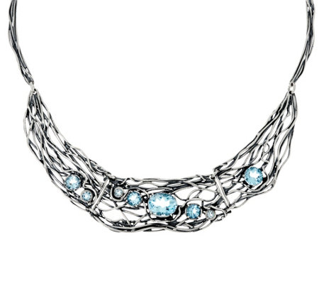 """As Is"" Sterling Silver Gemstone Statement Necklace, 30.0g"