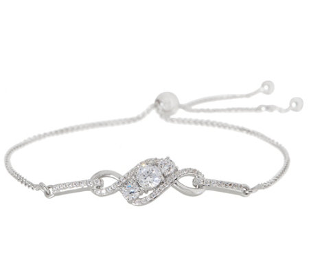 Diamonique Adjustable Three Stone Design Bracelet Sterling Silver