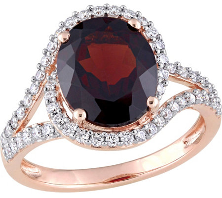 14K Gold 3.50 ct Garnet and 1/2 cttw Diamond Swirl Ring