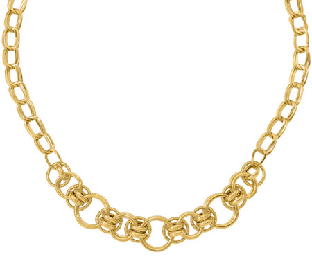 Italian Gold Round & Oval Fancy Link Necklace 14K, 11.6g