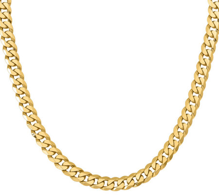 "14K Yellow Gold Beveled 24"" Curb Necklace, 97.4g"