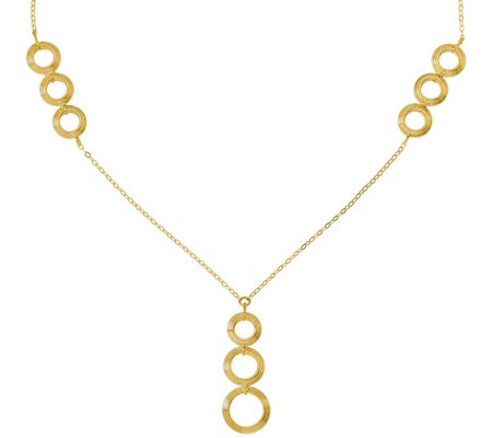 "14K Triple Circle ""Y"" Necklace, 3.8g"