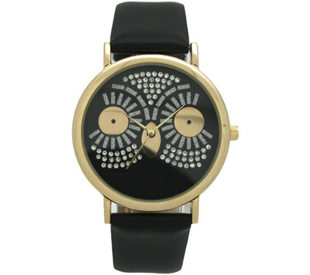 Oliva Pratt Women's Sparkly Owl Black Leather Watch