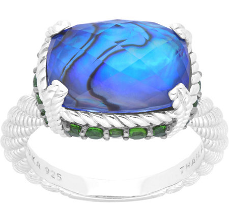 Judith Ripka Sterling Abalone & Chrome DiopsideRing