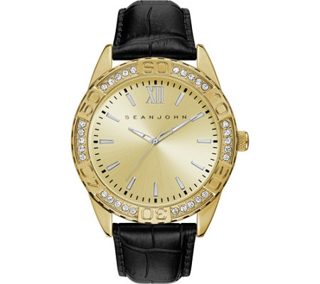 Sean John Men's Goldtone Black Leather Analog Watch