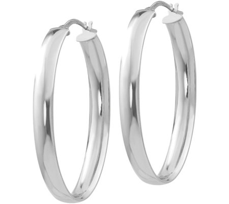 Italian Gold Long Wide Oval Hoop Earrings, 14K