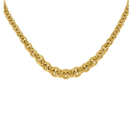 "Italian Gold 18"" Bold Graduated Cable Link Necklace, 14K"