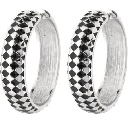 "Lauren G Adams Silvertone Checkerboard 1-1/8"" Hoop Earrings"