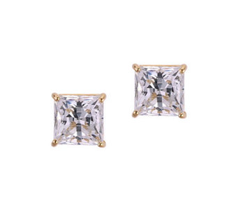 Diamonique 2.50 ct tw Princess Stud Earrings, 14K Gold - J105305