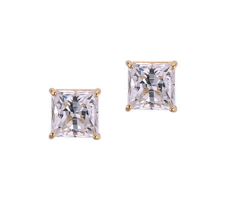 Diamonique 2.50 ct tw Princess Stud Earrings, 14K Gold